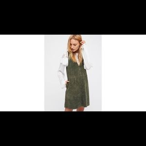 Free People Retro Love Green Suede Dress